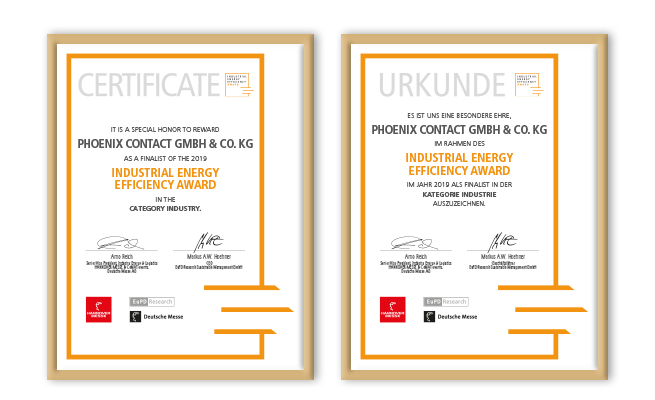 Hannover Messe Industrial Energy Efficiency Award Referenz Urkunden
